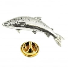 Small Salmon Fish Pewter Lapel Pin Badge