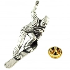 Snowboarder English Pewter Lapel Pin Badge