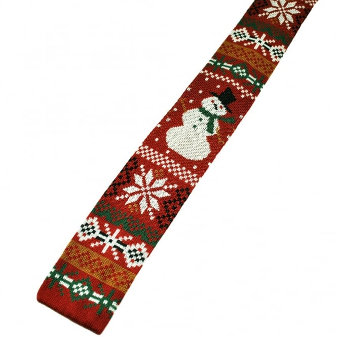 Christmas Tie.Snowman Knitted Red Silk Christmas Tie
