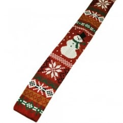 Snowman Knitted Red Silk Christmas Tie
