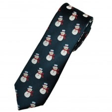 Snowman Navy Blue Luxury Silk Men's Skinny Christmas Tie