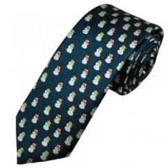 Snowman Navy Blue Men's Novelty Christmas Tie
