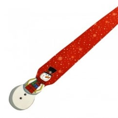 Snowman with Christmas Presents Shaped Novelty Red Tie