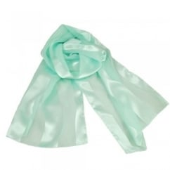 Spearmint Green Self-Stripe Satin Scarf