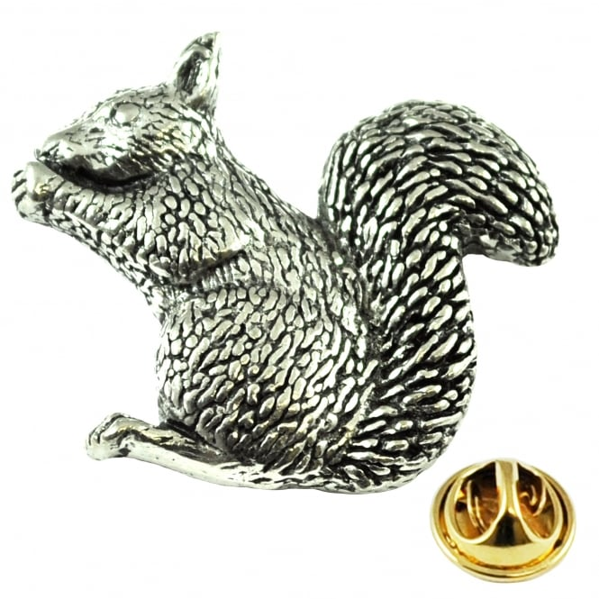 Squirrel English Pewter Lapel Pin Badge