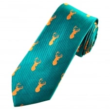 Stag Head Teal Green Silk Men's Luxury Country Tie