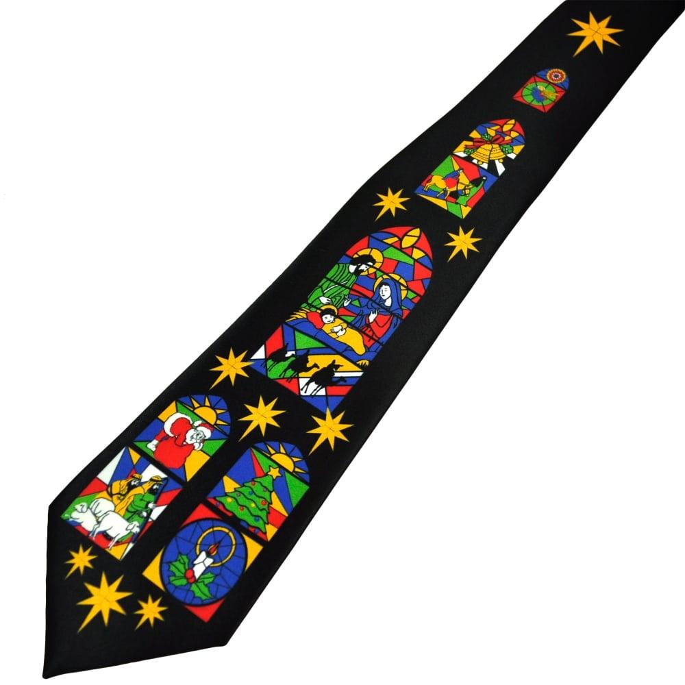 Christmas Tie.Stained Glass Window Nativity Black Men S Christmas Tie