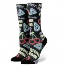 Stance Cooties Black & Cherry Red Hearts Patterned Women's Socks