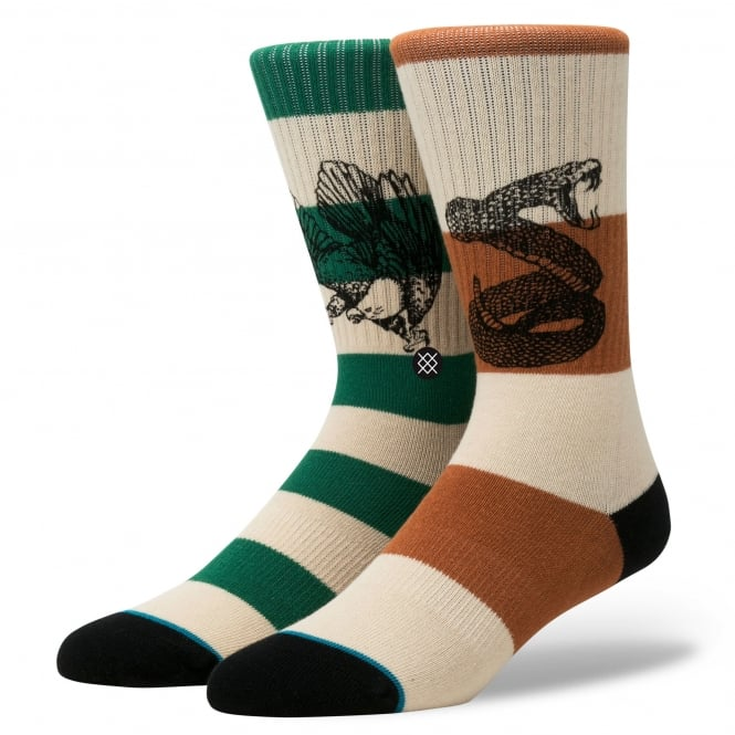 Stance Hecho Ivory, Brown & Green Striped With Snake & Eagle