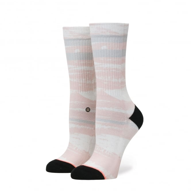 Stance Quiet Storm Black, Peach, White & Grey Pattered Women's Socks Size 3-8.5