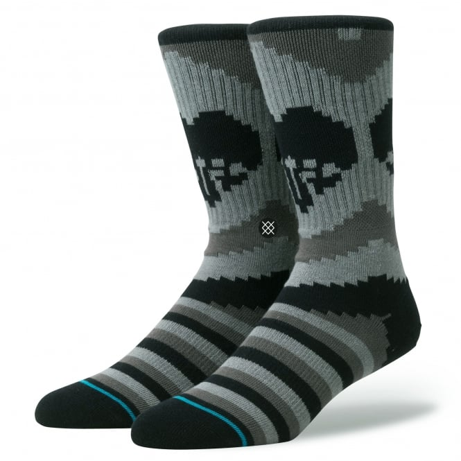 Stance Till Death Black & Grey Striped Skull Socks