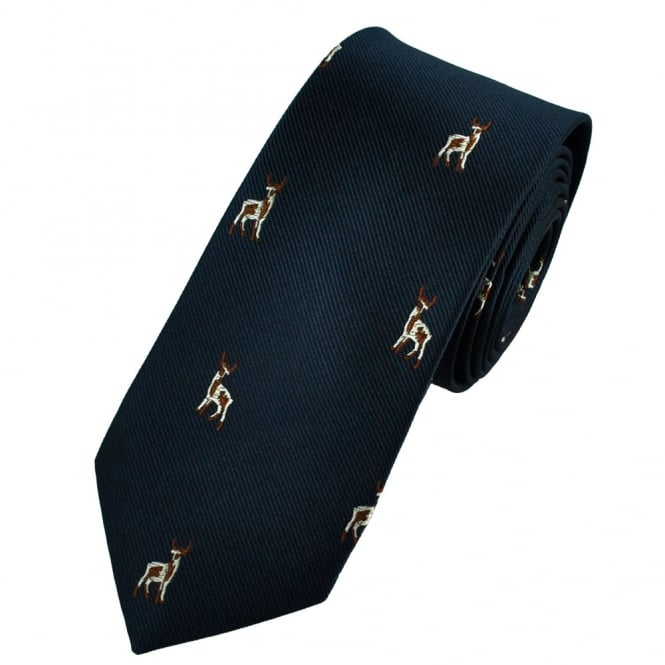 Standing Deer Navy Blue Luxury Silk Narrow Country Tie