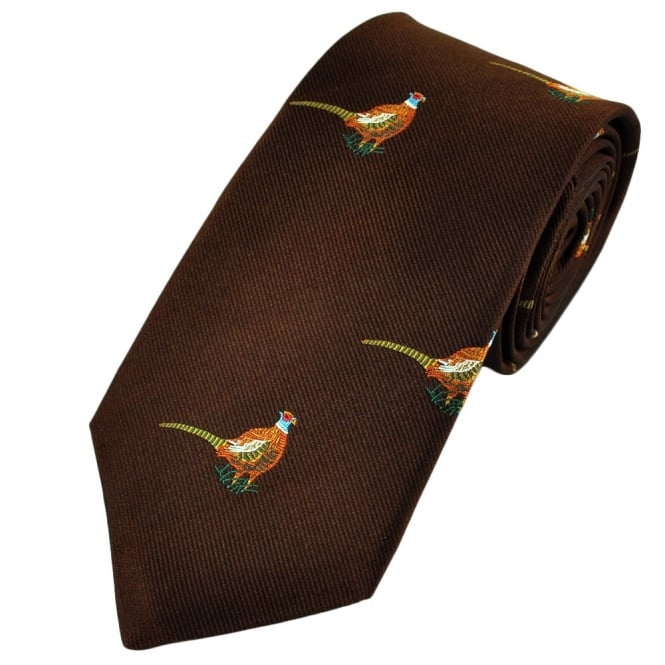 Standing Pheasants Brown Silk Country Tie by Van Buck