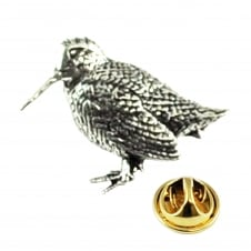 Standing Woodcock Bird English Pewter Lapel Pin Badge
