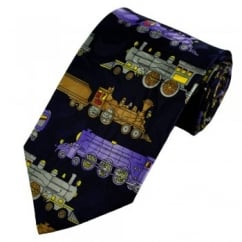 Steam Trains Navy Blue Novelty Tie