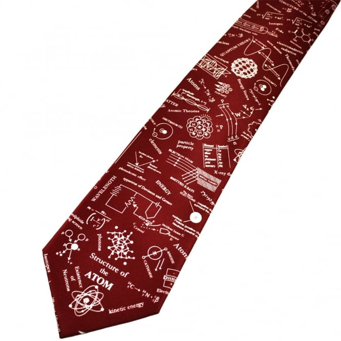 Structure of Atom Burgundy Novelty Science Tie