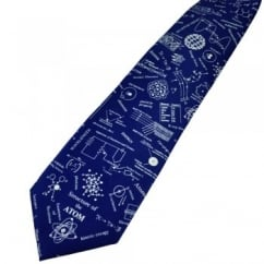 Structure of Atom Navy Blue Novelty Science Tie