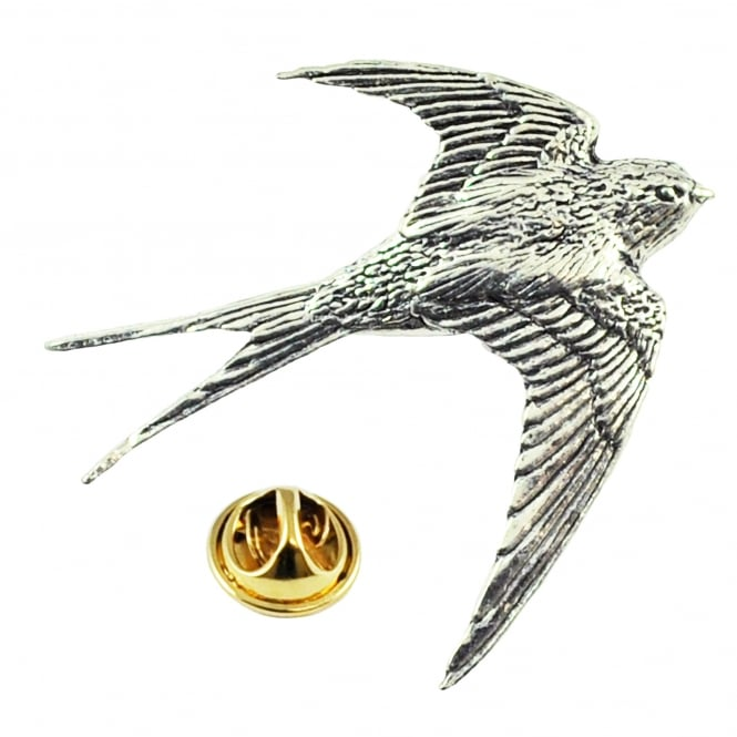 Swallow Bird English Pewter Lapel Pin Badge