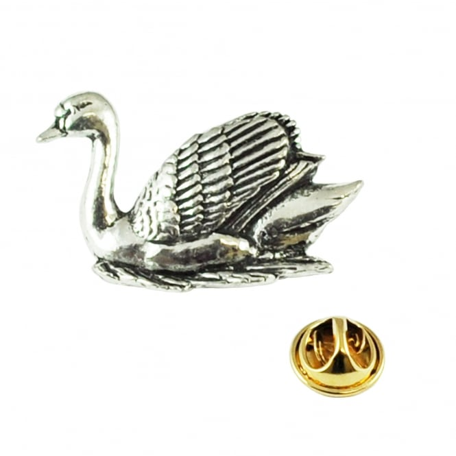 Swan English Pewter Lapel Pin Badge