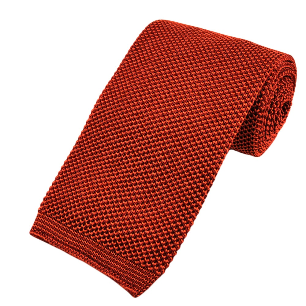 Tangerine Amp Orange Premium Knit Silk Tie From Ties Planet Uk