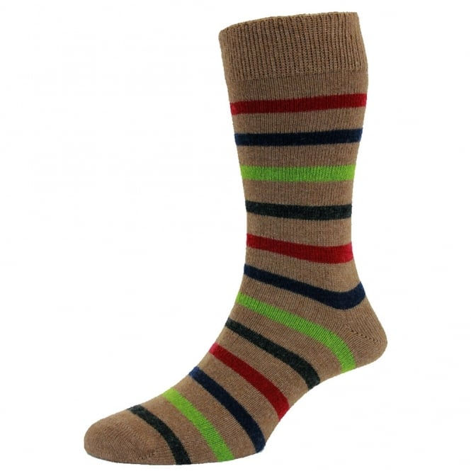Taupe Brown & Multi Coloured Stripes Lambswool Men's Socks by HJ Hall