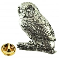 Tawny Owl Bird English Pewter Lapel Pin Badge
