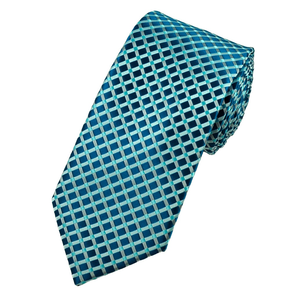 teal aqua blue silver grey checked tie from