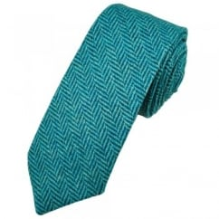 Teal & Aqua Herringbone Tweed Wool Tie