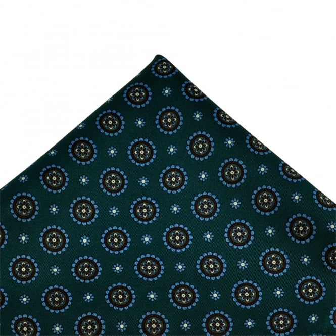 Teal, Blue & White Flower Patterned Handkerchief