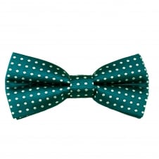 Teal Green & White Polka Dot Boys Bow Tie