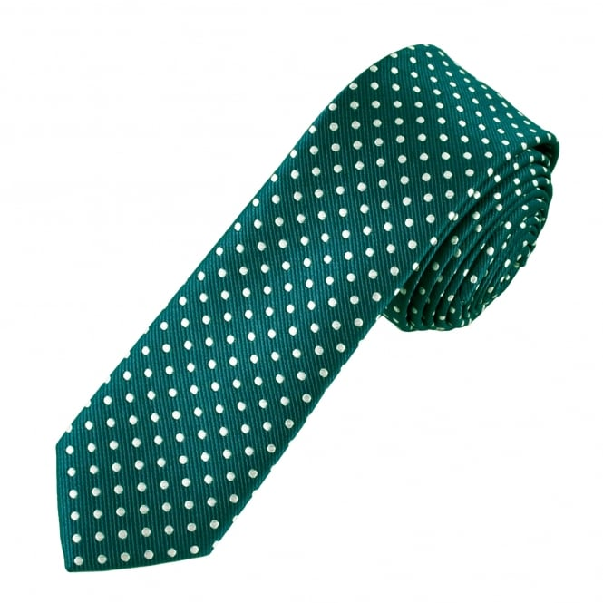 Teal Green & White Polka Dot Boys Skinny Tie