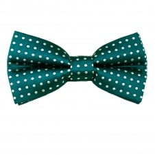 Teal Green & White Polka Dot Men's Bow Tie