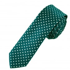 Teal Green & White Polka Dot Men's Skinny Tie