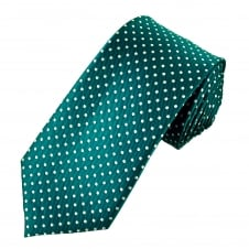 Teal Green & White Polka Dot Men's Tie