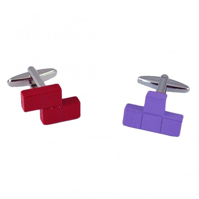 Tetris Style Red & Purple Puzzle Cubes Novelty Cufflinks