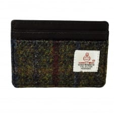 The Brenais Collection Green & Red Harris Tweed Credit Card Holder