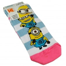 The Minions - White, Grey & Pink Striped Women's Socks