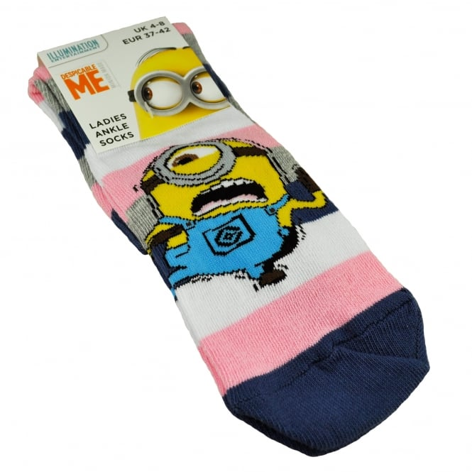 The Minions - White, Pink & Navy Striped Women's Socks