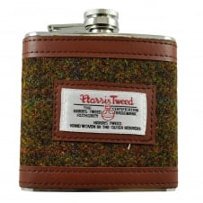 The Stornoway Collection Brown Harris Tweed 6oz Hip Flask