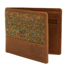 The Stornoway Collection Green & Red Harris Tweed Wallet