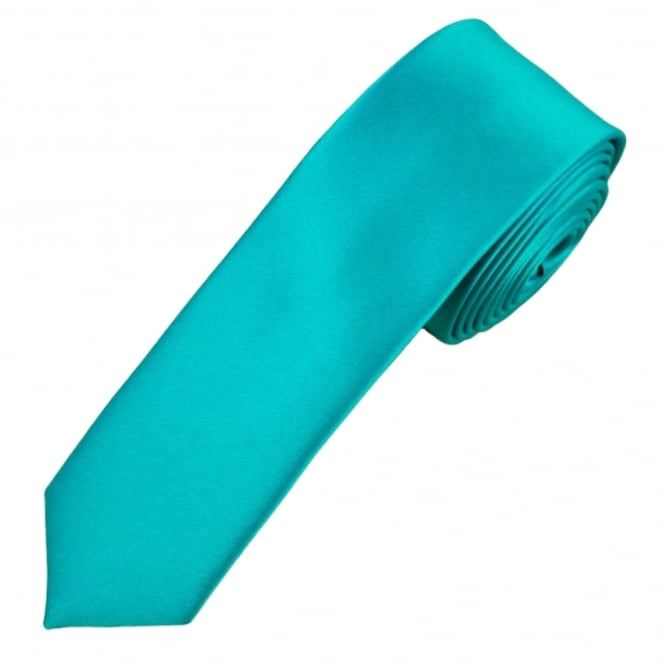 Ties Planet Plain Medium Turquoise Boys Skinny Tie