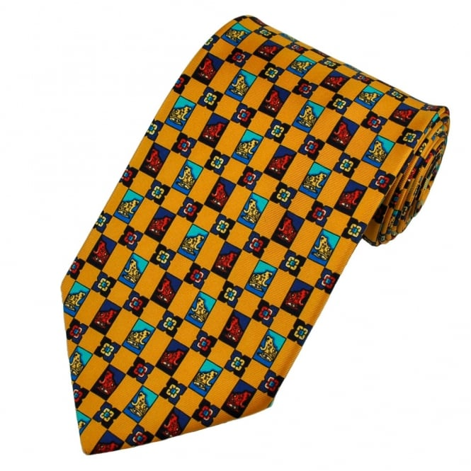 Toads Gold, Navy & Blue Silk Novelty Tie