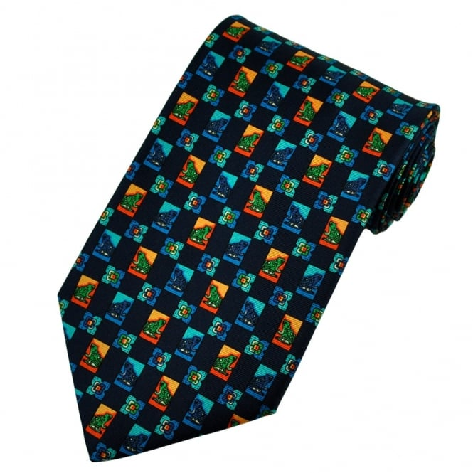 Toads Navy Blue, Orange & Blue Silk Novelty Tie