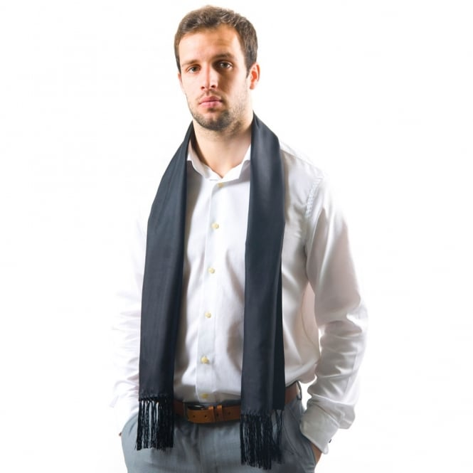 Tootal Black Fringed Silk Men's Evening Scarf