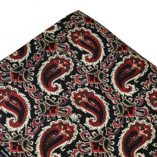 Tootal Black, Red, Green & Ivory Paisley Silk Pocket Square Handkerchief