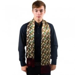 Tootal Cream Paisley Fringed Silk Men's Evening Scarf