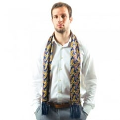 Tootal Navy Blue Paisley Fringed Silk Men's Evening Scarf