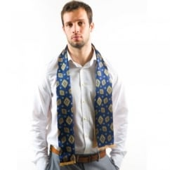 Tootal Navy Blue Pattern & Plain Beige Silk Men's Evening Scarf - Reversible