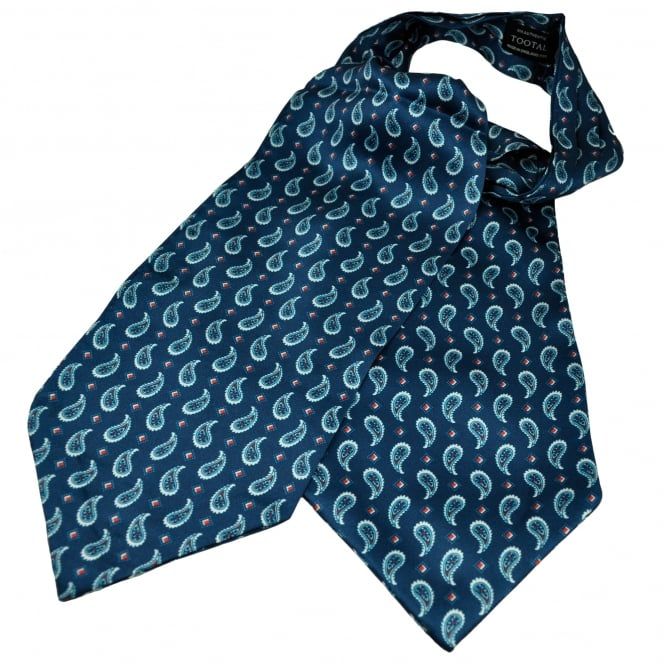 Tootal Navy Blue, Red & White Paisley Patterned Silk Day Cravat