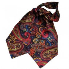 Tootal Navy, Red, Yellow & Green Paisley Silk Day Cravat
